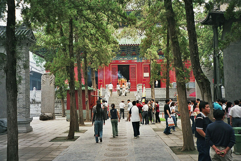 Tourists at the front gates of the Shaolin Temple.