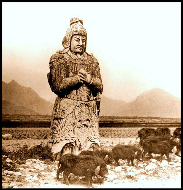 Another photograph of the Ming Statues.  This one was reproduced on a large number of early 20th century stereoscope slides.  Public Domain.