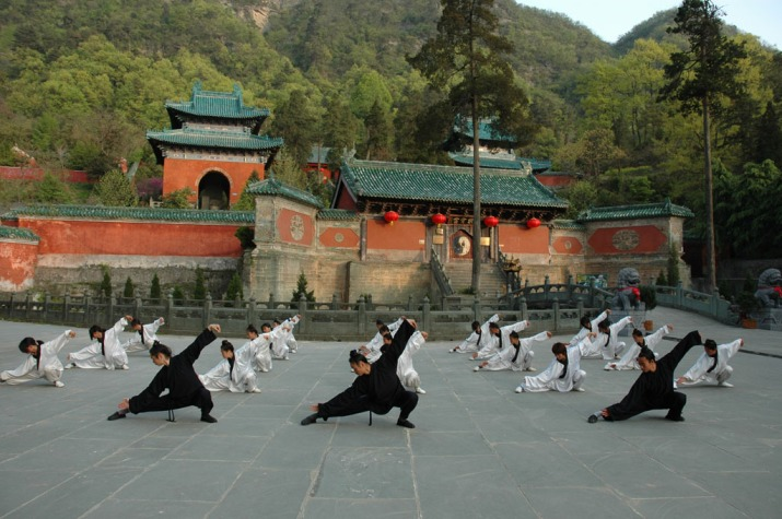 Taiji being demonstrated at the famous Wudang Temple, spiritual home of the Taoist arts.  Notice they wear the long hair of Taoist Adepts. Source: Wikimedia.