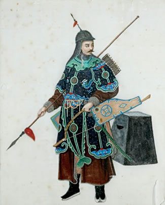 Painting on silk of a Qing soldier, anthropology collection of the University of Missouri.