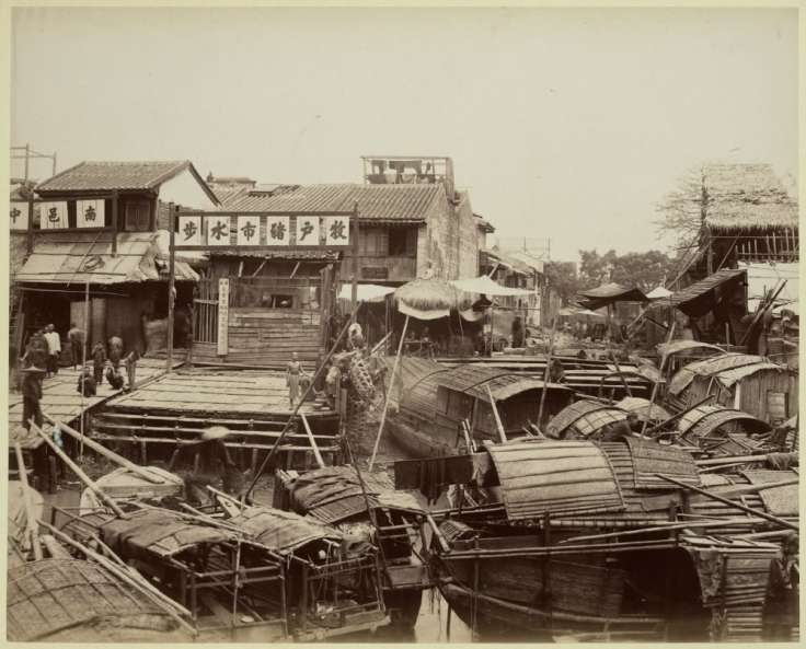 A street Scene from Guangzhou from roughly 1880.