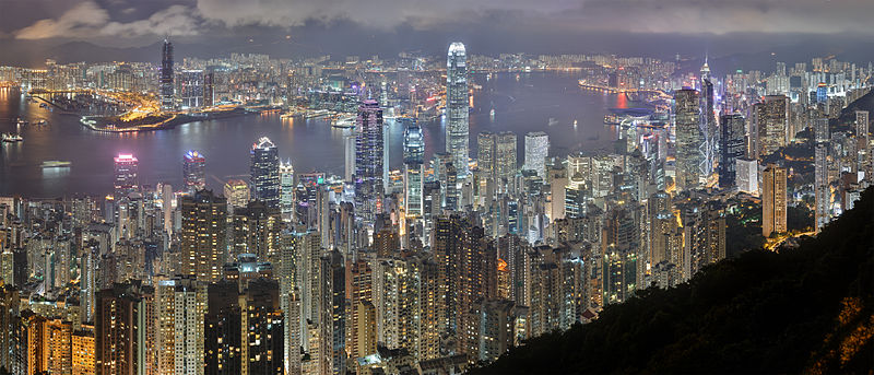 Hong Kong skyline at Night.  This is one of the most globally connected cities in the world.