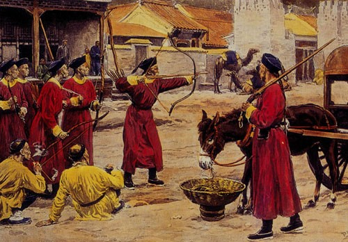 Chinese military archery training in the second half of the 19th century.