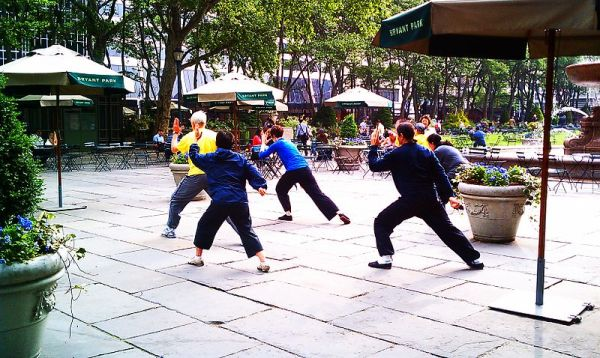Morning Taiji group in Bryant Park, New York City.
