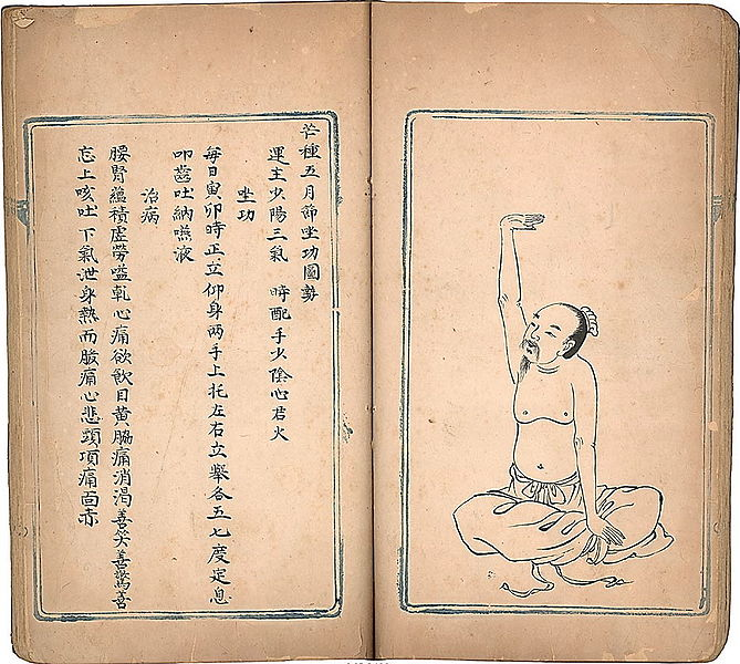 Qing era copy of  Weisheng Jieyao (Eight Pieces of Brocade).  Texts such as these helped to inspire, and were often incorporated into, the modern Qigong phenomenon.