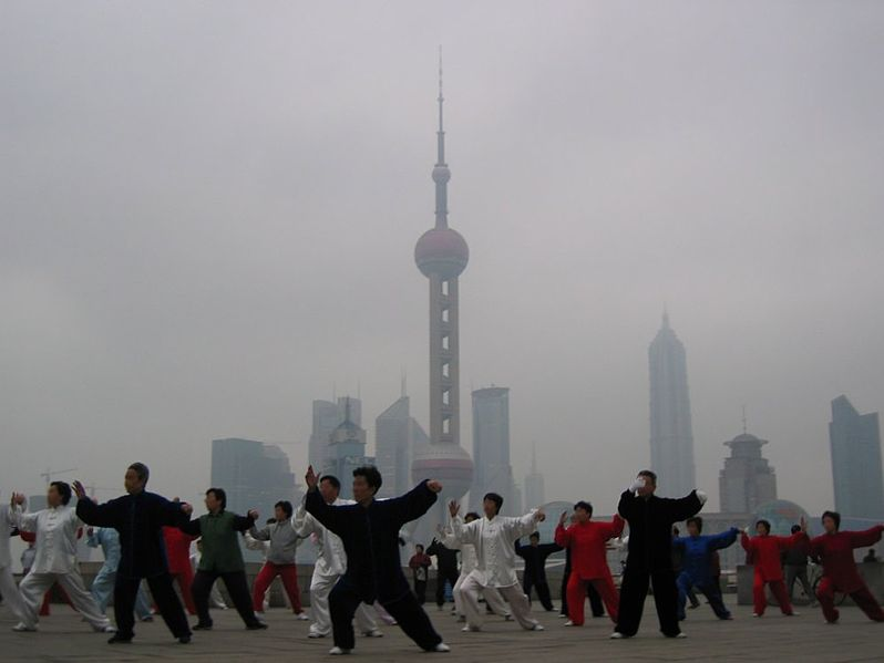 Yang Style Taiji in Shanghai, 2005.  The traditional Chinese martial arts are always forced to create a sheltered space within the larger community. Source: Wikimedia.