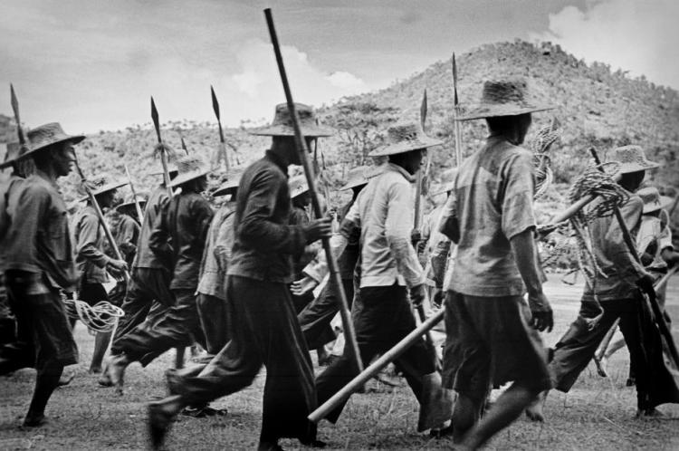 A local militia armed with spears outside of Guangzhou, 1938.