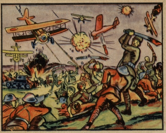 "An American trading card from the 1938 ""Horrors of War"" series.  This image was labeled ""Chinese 'Big Sword' Corps Resist the Japanese."" Authors personal collection."