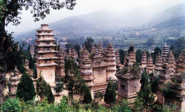 A view of the Pagoda or Stupa Forest at Shaolin, one of the largest at any Buddhist Temple in China.
