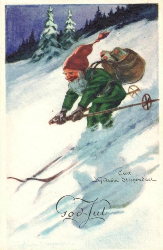 Bernard the Kung Fu Elf, training for a spot on the elite North Pole Alpine Search a Rescue team. (Source: late 1940s Swedish Postcard, Authors personal collection.)