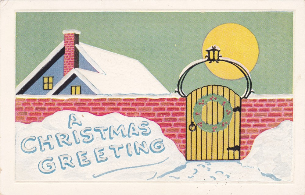 A home silhouetted by the moon on Christmas eve. These architectural cards were some of the most commonly given and are a valuable remainder of the material lives that Americans at the turn of the century aspired to. Note the art nouveau influenced gate. (Source: Vintage American Postcard, authors personal collection.)