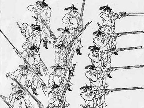 Image of Chinese troops firing their weapons in well disciplined ranks.  Fire Dragon Manual.  Source: Wikimedia.