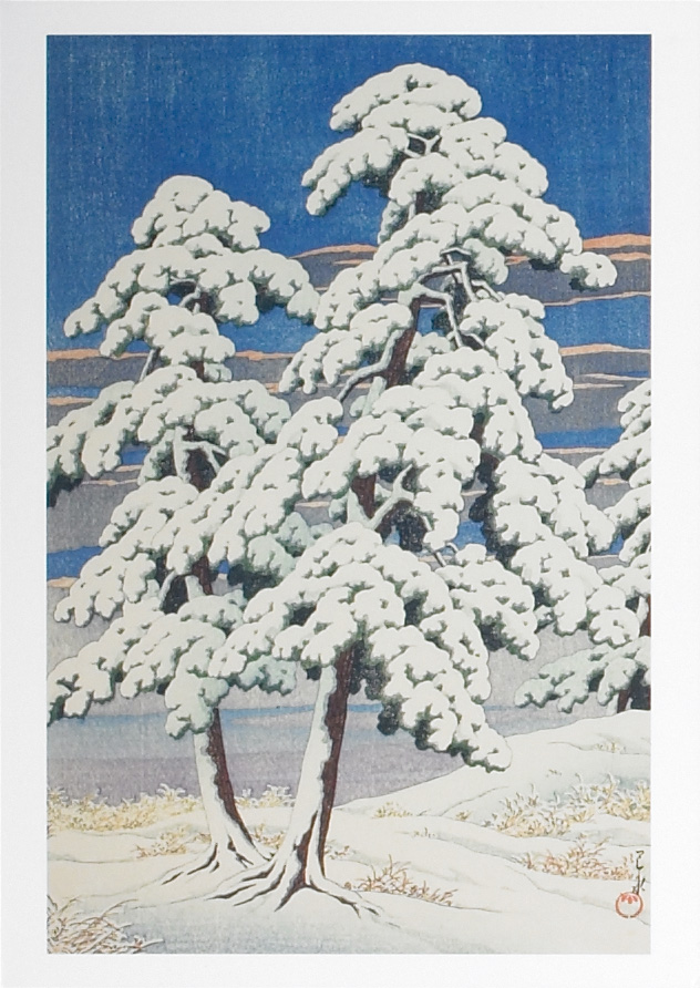 Pine Tree After Snow by Kawase Hasui (1929).  Yesterday we received over a foot of snow, so I thought that a little winter imagery would be appropriate.