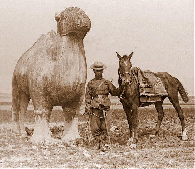Caravan Guard on the road to Beijing, stops for a photo by an ancient Ming monument, pre-1911.  Note the modern carbine and western style saber.  Source: Wikimedia.