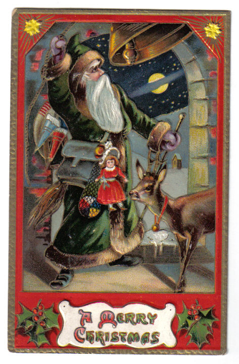 Santa in a green suit.  this card was dated 1907.  Already by that point the santa suit was more common.  Source: Vintage American Postcard from Authors personal collection.