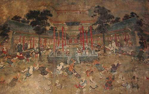 Early 19th Century Mural, Shaolin Temple. This work of art depicts the monks demonstrating their Martial Arts for a visiting Qing dignitary. Luckily this historically significant piece of art survived the 1928 destruction of the temple.