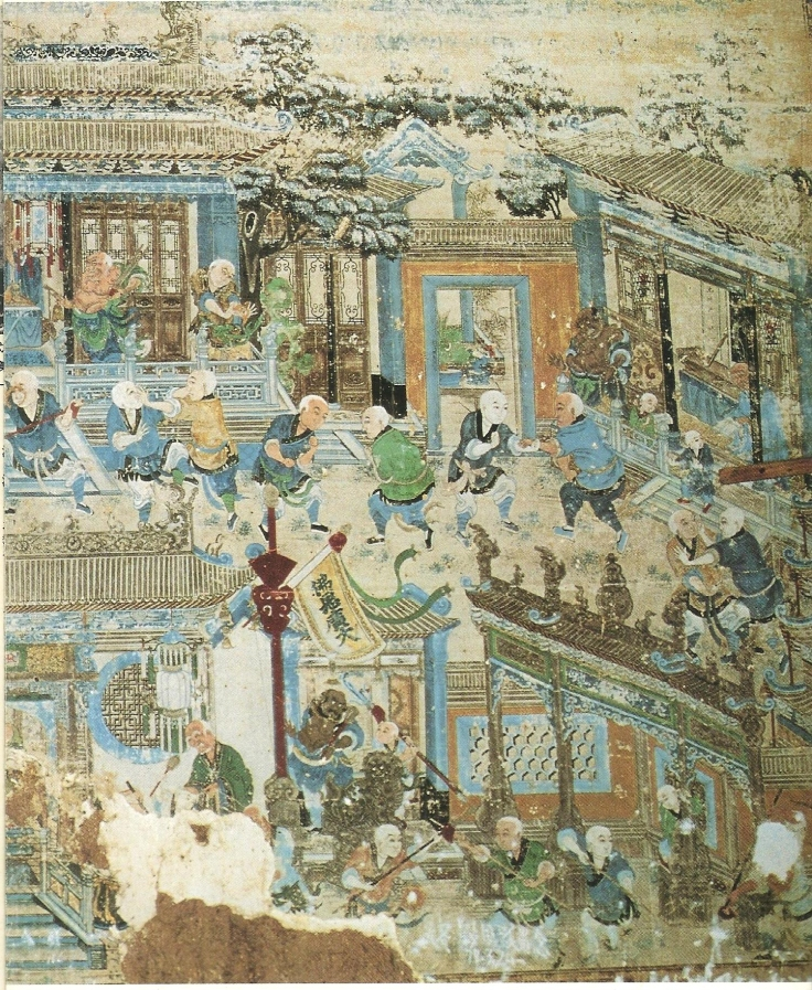 A different view of the same mural. Shaolin, 19th century. Original published source unknown.