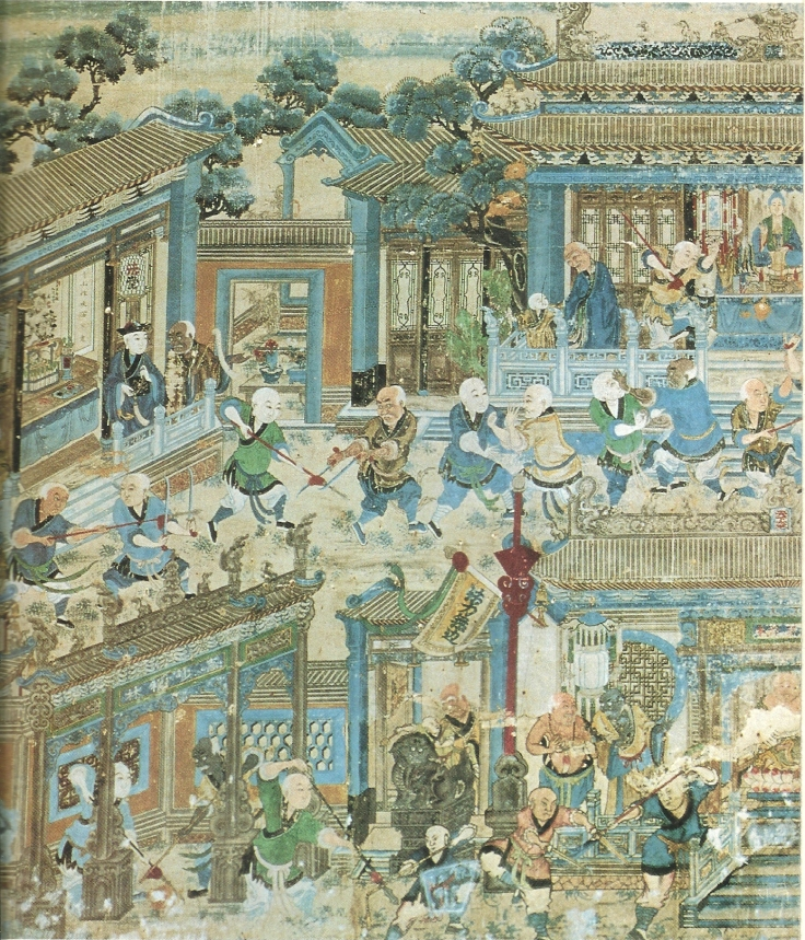 A detailed view of one of the 19th century murals at the Shaolin Temple in Henan. Original published source unknown.