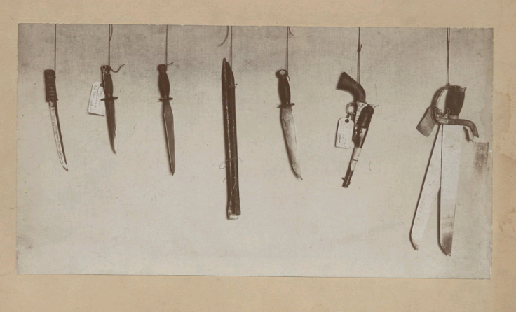 Chinese Highbinder weapons collected by H. H. North, U. S. Commission of Immigration, forwarded to Bureau of Immigration, Washington D. C., about 1900. Note the coexistence of hudiedao (butterfly swords), guns and knives all in the same raid. This collection of weapons is identical to what might have been found from the 1860s onward. Courtesy the digital collection of the Bancroft Library, UC Berkley.