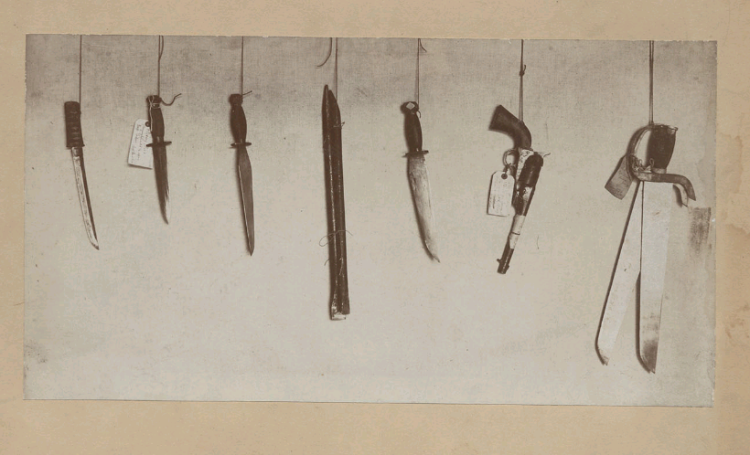 Chinese Highbinder weapons collected by H. H. North, U. S. Commission of Immigration, forwarded to Bureau of Immigration, Washington D. C., about 1900. Note the coexistence of hudiedao (butterfly swords), guns and knives all in the same raid. This collection of weapons is identical to what might have been found from the 1860s onward.Courtesy the digital collection of the Bancroft Library, UC Berkley.