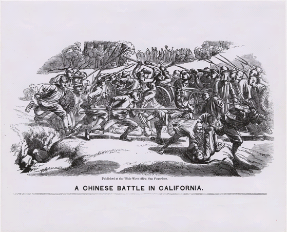 """A Chinese Battle in California."" Depiction of rival tongs of Chinese miners at Weaverville in June 1854. Contributing Institution: California Historical Society. Bancroft Library, UC Berkley."