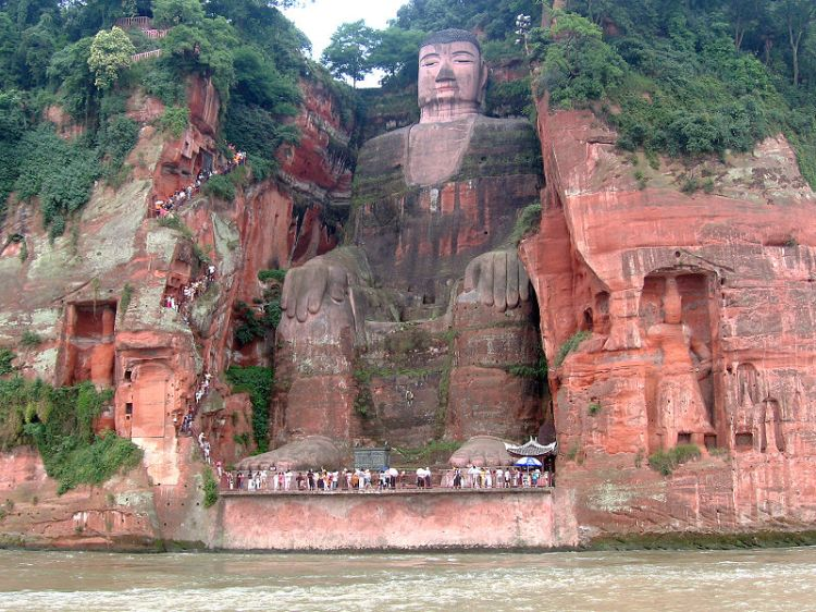 Giant Buddha Statue of Leshan, Sichuan, China.  Source: Wikimedia.
