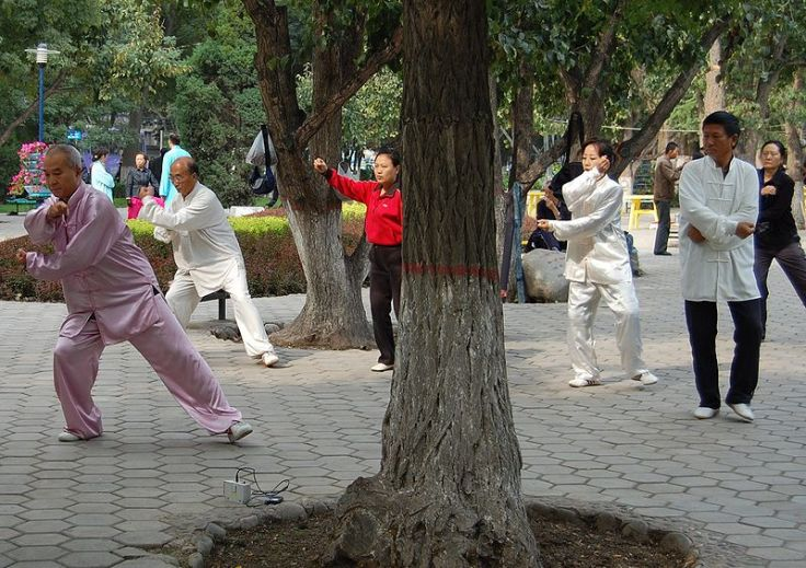 Taijiquan in Lanzhou, Gansu, China.  Scenes like this are a reflection of the success of Sun's ideas about the true value and nature of the Chinese martial arts.  Source: wikimedia.