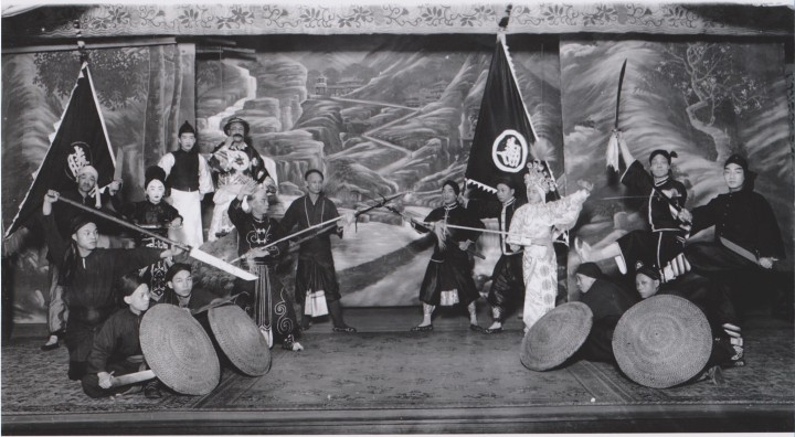 "Cantonese Opera Performers in San Francisco, circa 1900.  Chinese Opera and Popular entertainment has been linked to the martial arts since at least the Song dynasty.  Even in the Han dynasty military performances were a central part of the ""Hundred Events."""