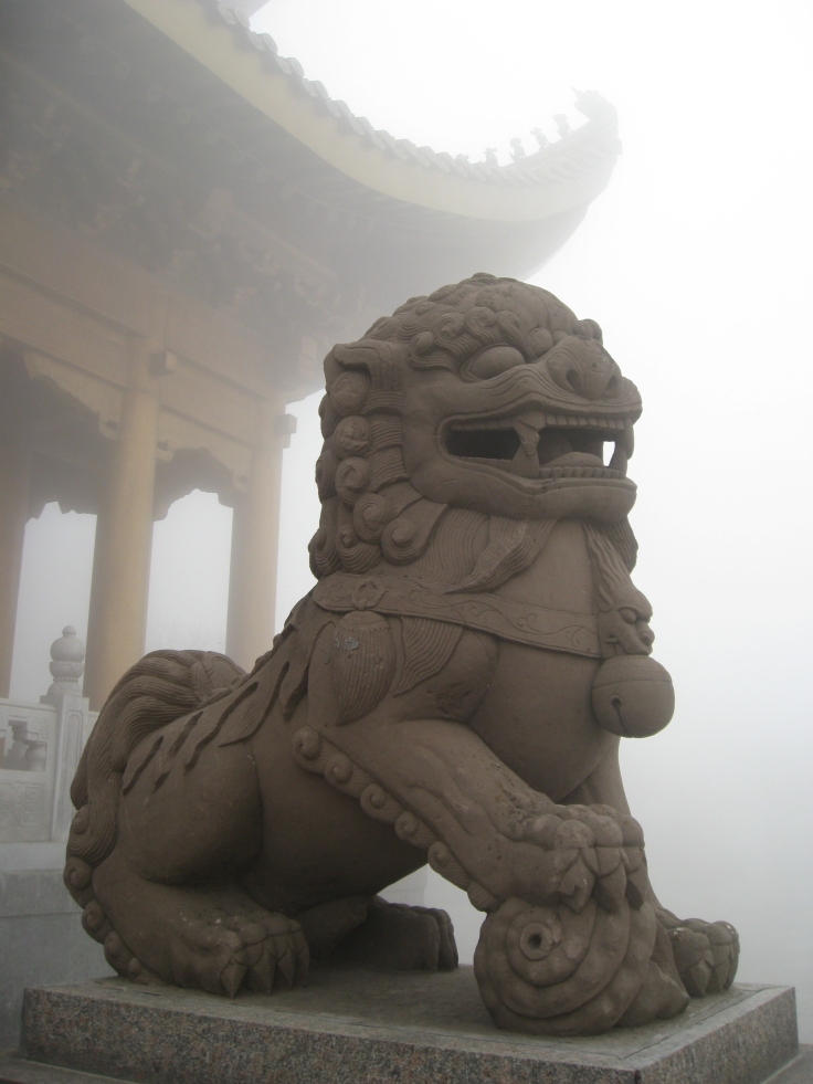 Lion state at a temple on Emeishan.  source: Wikimedia.