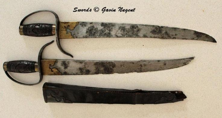 "Another set of hudiedao from the private collection of Gavin Nugent. These blades are some of the earliest seen in this post. They also show signs of significant use. Note the complex profile of the blades and how the spine flattens out as it approaches the tip. This allows the weapon to have reach while not feeling ""top heavy."" The owner notes that these are the most comfortable hudiedao that he has handled. Source: http://www.swordsantiqueweapons.com/"