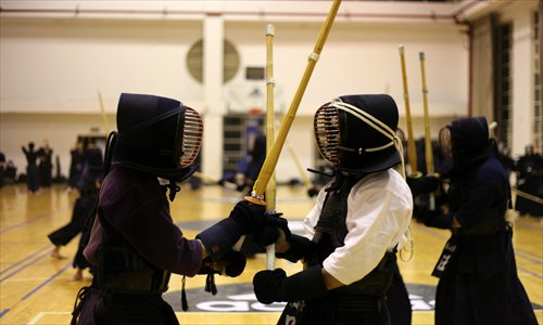 Kendo students in a gym in downtown Shanghai. Photo: Cai Xianmin/GT .