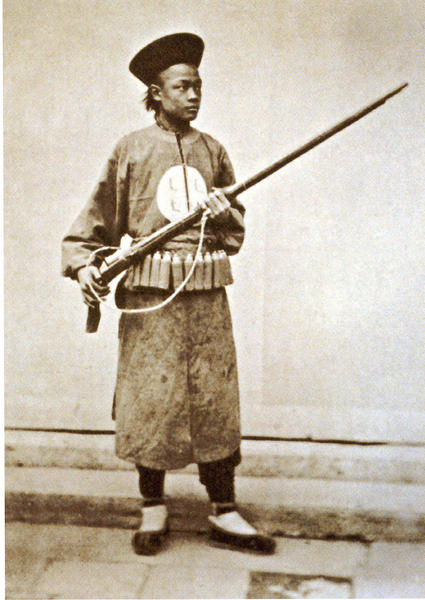 Mid 19th century Chinese soldier with matchlock