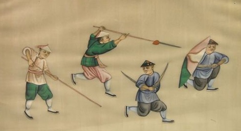 19th century Chinese painting.  This image is part of a larger set that shows scenes ofa gentry led militia in training.  Note the individual in the foreground with long pointed hudiedao.  Special thanks to Gavin Gaving Nugent (www.swordsantiqueweapons.com/) for sharing these images.
