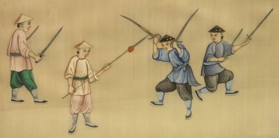 A very interesting painting from the previous series.  Note that this one shows individuals with clearly rendered Hudiedao, Shuang Jian and Shuang Dao, suggesting the practical use of all three weapons.  Special thanks to Gavin Nugent  (www.swordsantiqueweapons.com/) for agreeing to share this image.