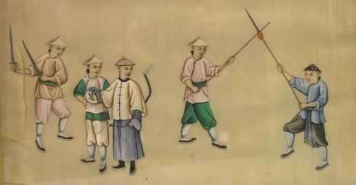 Another image in the same series of paintings.  Note the leader of this unit is dressed as a member of the gentry and carries a bow.  Thanks again to Gavin Nugent (www.swordsantiqueweapons.com/) for sharing this image.