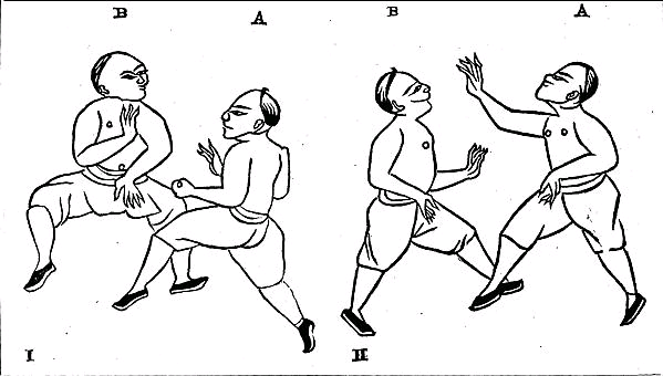 "Wood block cuts illustrating unarmed Boxing form the ""Nobel Art of Self Defense."" (circa 1870).  Note that the individual on the left is striking a boney target (his opponent's face) with an open hand, where as the ""figure A"" on the left is now attacking a soft target with a closed fist.  This is generally good advice and it is still taught in the southern Chinese martial arts today."