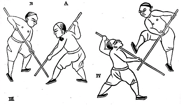 "Illustrations of pole fighting, ""The Noble Art of Self-Defense."" (Circa 1870)"