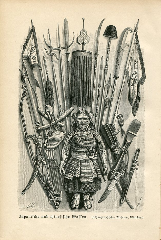 Volkerkunde by F.Ratzel.Printed in Germany,1890. This 19th century illustration shows a number of interesting Japanese and Chinese arms including hudiedao.