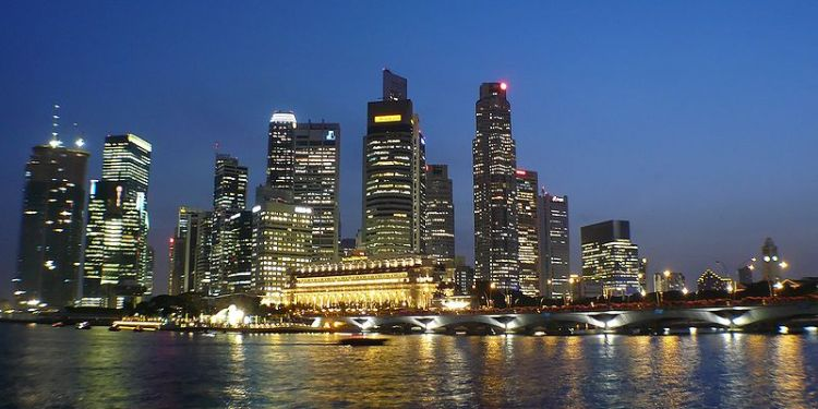 Singapore evening skyline.  Source: Wikimedia.