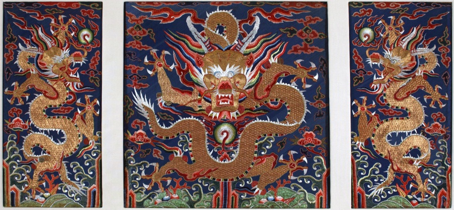 Late Ming, Embroidered Panel featuring dragons.  Circa 1600.