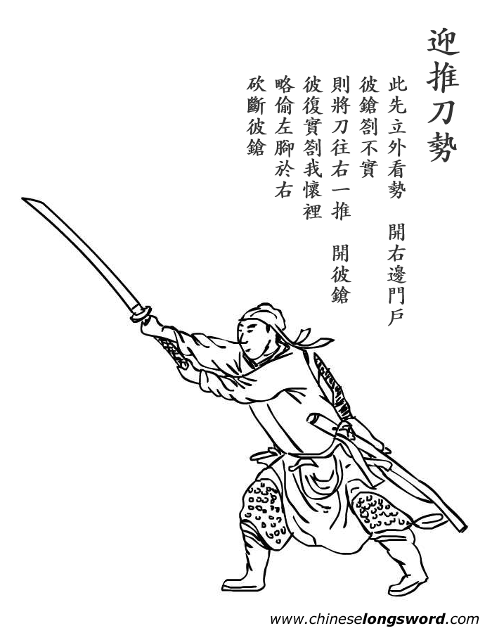 A section of text and illustration from one of the many martial arts manuals that were printed for literate martial arts enthusiasts during the late Ming.  Source: chineselongsword.com