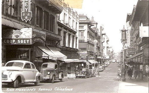 San Francisco Chinatown circa 1950.  Source: Vintage Postcard.