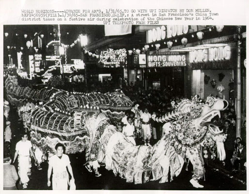 Dragon dance at a public festival in San Francisco.  1965.  Source: UPI press photo.