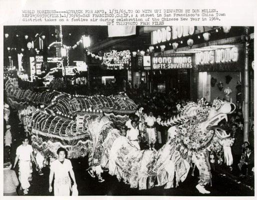Dragon dance at a public festival in San Francisco.  1965.  Source: UPI press photo.