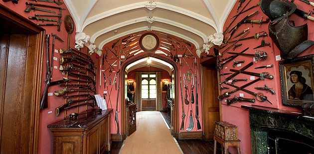 Sir Walter Scott's important collection of Asian Arms at his house Abbotsford.  Collections such as this were accumulated by individuals of means throughout the 19th century.  Note the 18th century Jian hanging high on the left-hand wall.  This is probably one of the earliest provenanced swords of this type in the UK.  Source: image courtesy Abbatsford webpage.