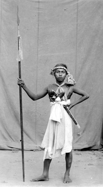 A 19th century warrior with traditional weapons.  Source: Wikimedia.