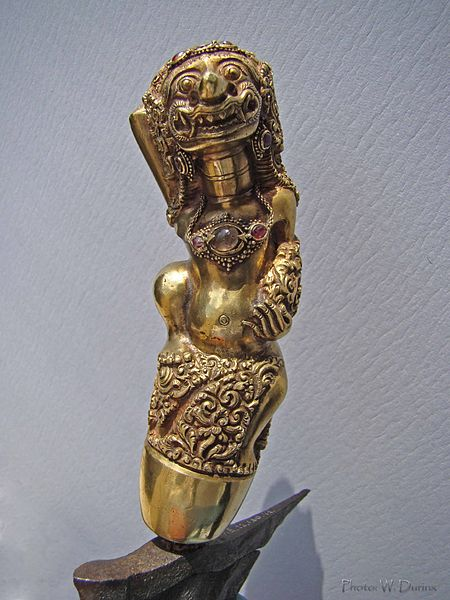 A highly detailed kris hilt.  Source: Wikimedia.