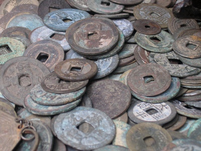 Assorted Chinese coins.  Source: Wikimedia.