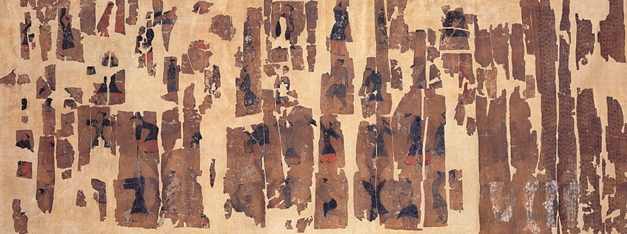 An illustrated document showing ancient health cultivation techniques dating from the Western Han.  Source: Hunan Provincial Museum.