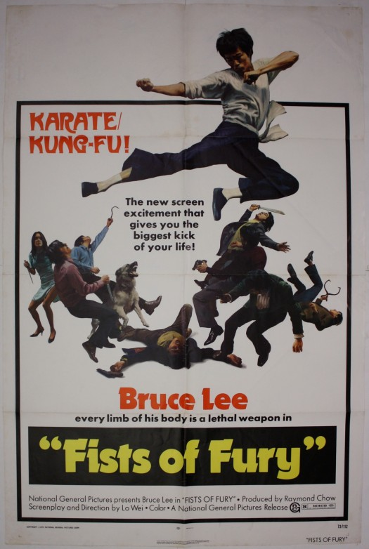 Vintage poster for the American release of Fists of Fury, originally produced for the Hong Kong market.